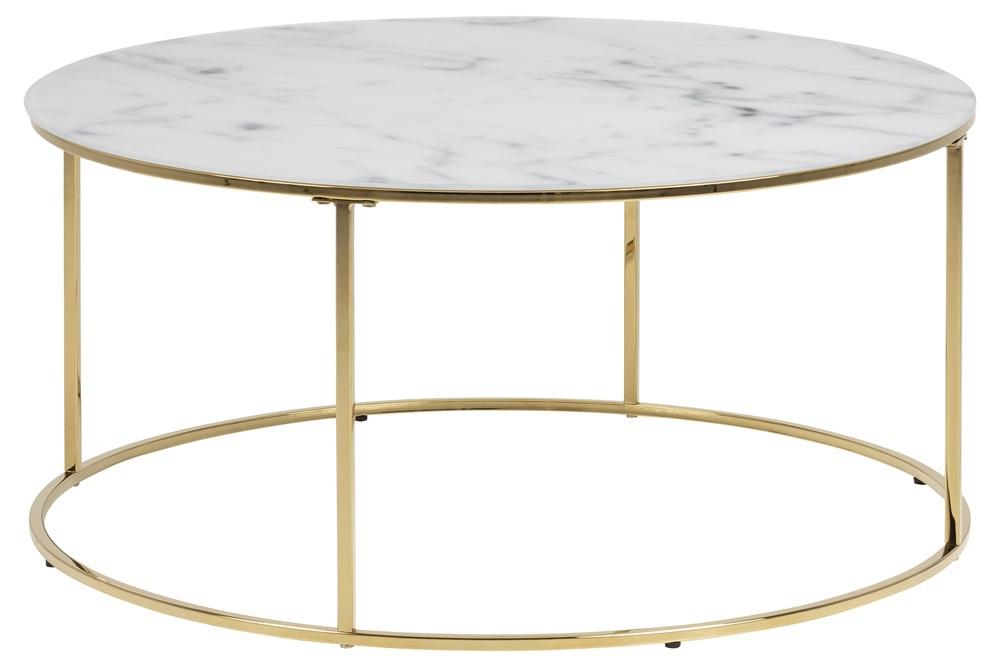 Designový konferenční stolek Ahman bílá / zlatá chromová