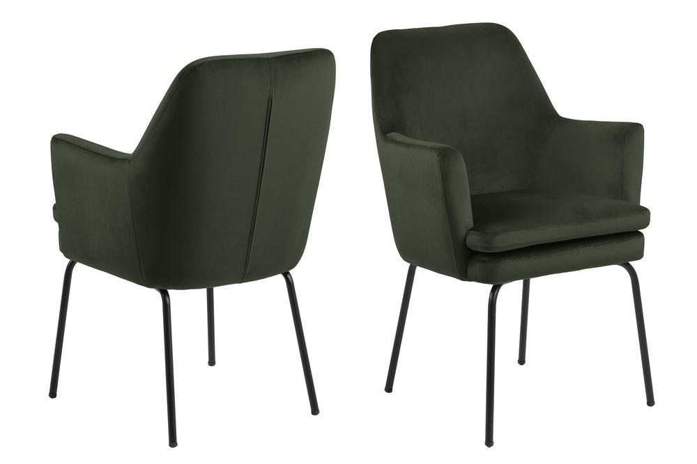 Elegantní jídelní židle Aleix tmavozelená