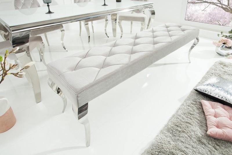 Designová lavice Rococo, 170 cm, stříbrná