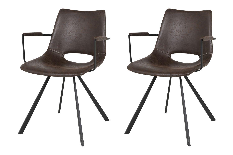 Designová židle Izabella s opěrkami / tmavě hnědá-černá