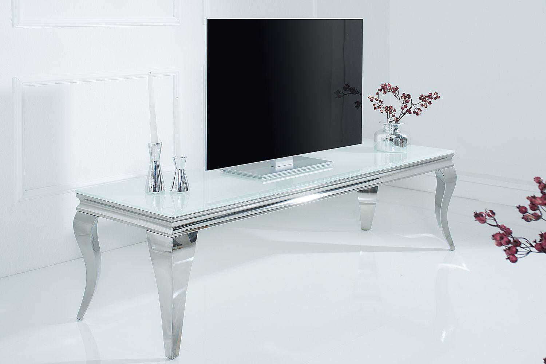 Designový TV stolek Rococo 160 cm bílá / stříbrná