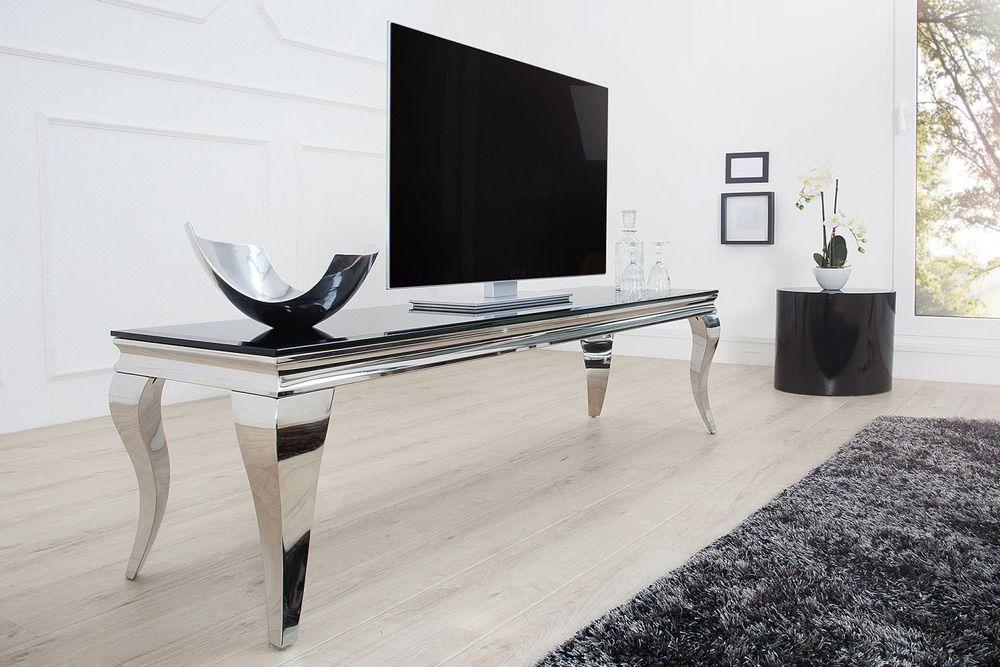 Designový TV stolek Rococo 160 cm černá / stříbrná