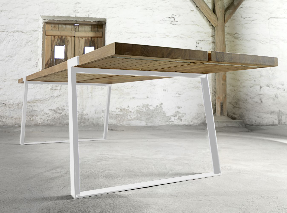 Jídelní stůl Annie 290 - 410cm / bílá-přírodní