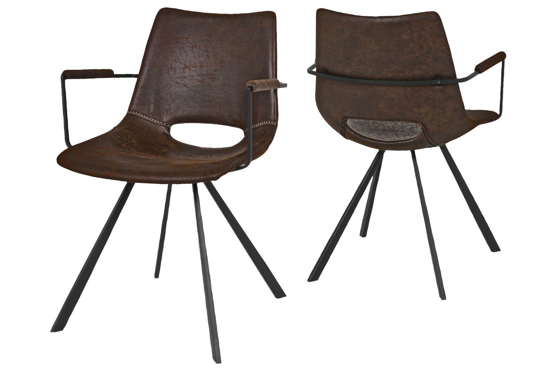 Designová židle Izabella s opěrkami / hnědá-černá
