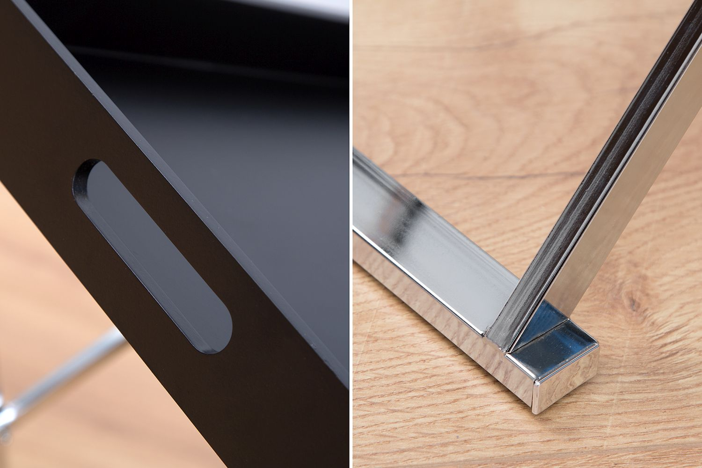 Odkládací stolek Veronica / černá - stříbrná