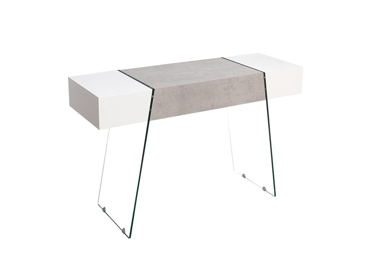 Designová konzola Livid 120 cm / bílá-betonová