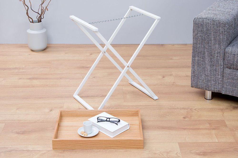 Odkládací stolek Veronica / přírodní - bílá
