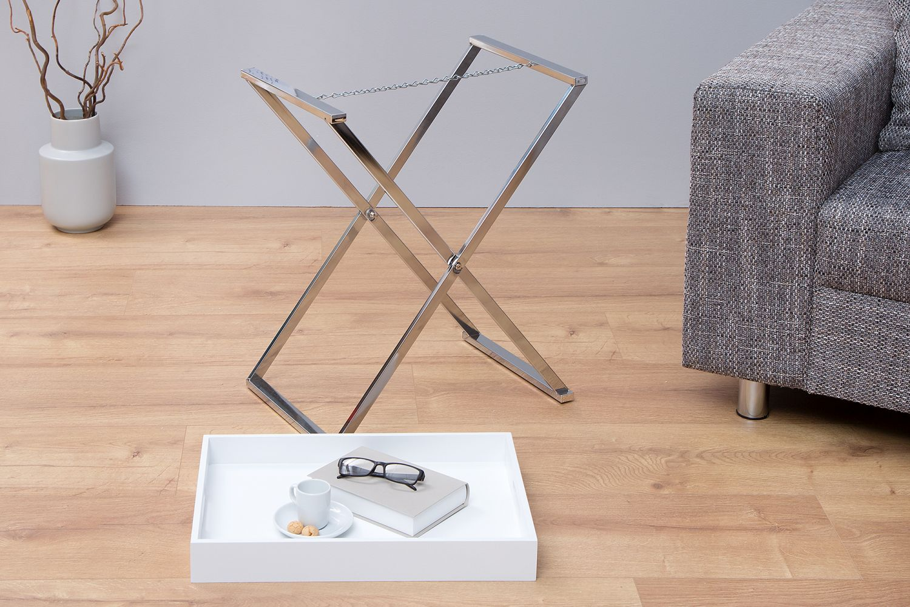 Odkládací stolek Veronica / bílá -strieborná