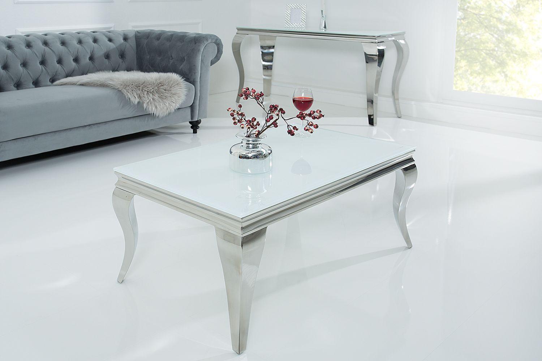 Dizajnový konferenční stolek Rococo bílý / stříbrný
