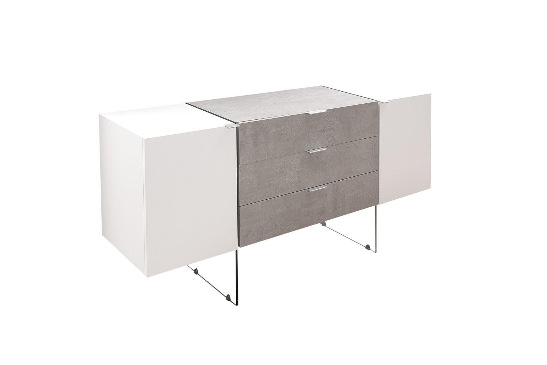 Dizajnová komoda Livid 160 cm / bílá - betónová