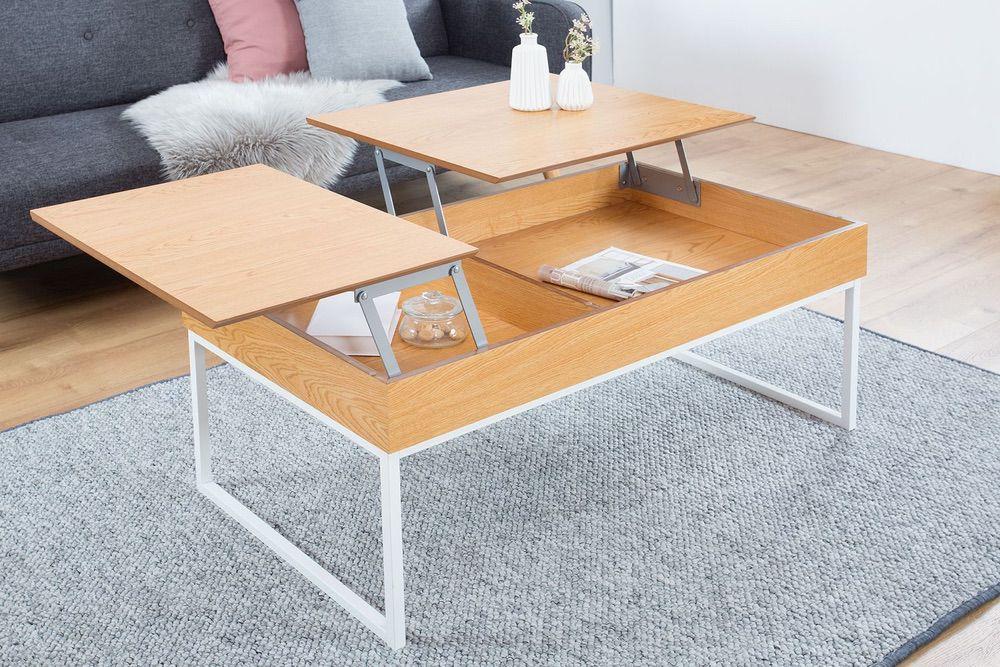 Konferenční stolek Cesar 135 cm / bílá - dub