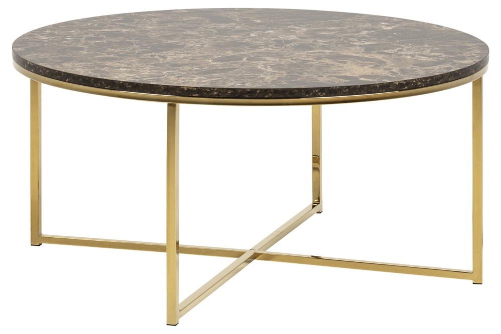 Konferenčný stolík Agostino, hnedá / zlatá chrómová