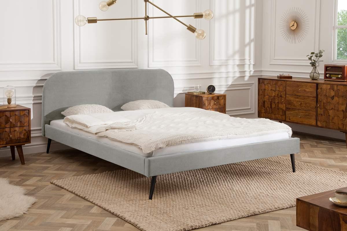 Manželská postel Lena 140 x 200 cm - stříbrný samet
