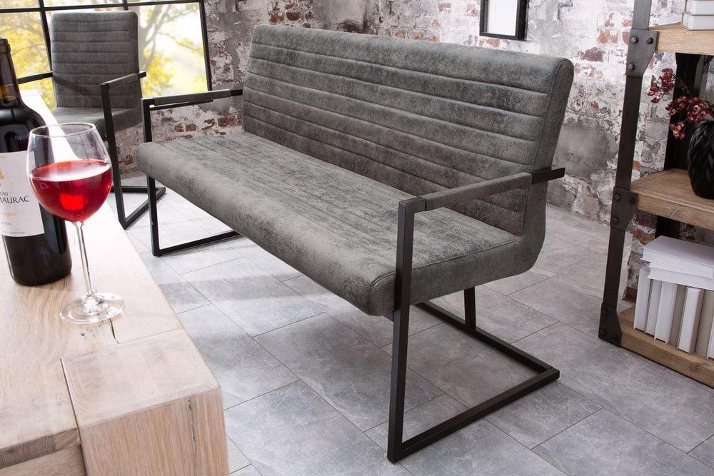 Dizajnová lavice Maximiliano vintage šedá