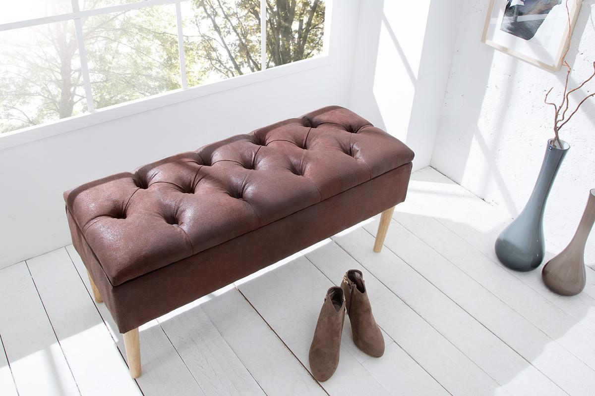 Luxusní lavice Queen hnědá kávová