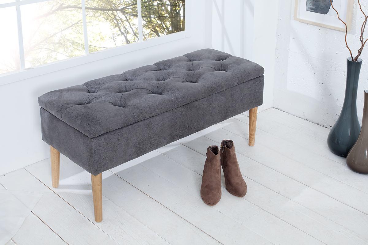 Luxusní lavice Queen šedá