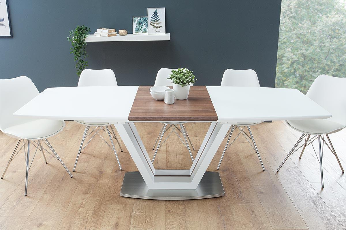 Jídelní stůl rozkládací Joanna bílý / ořech 160-220 cm