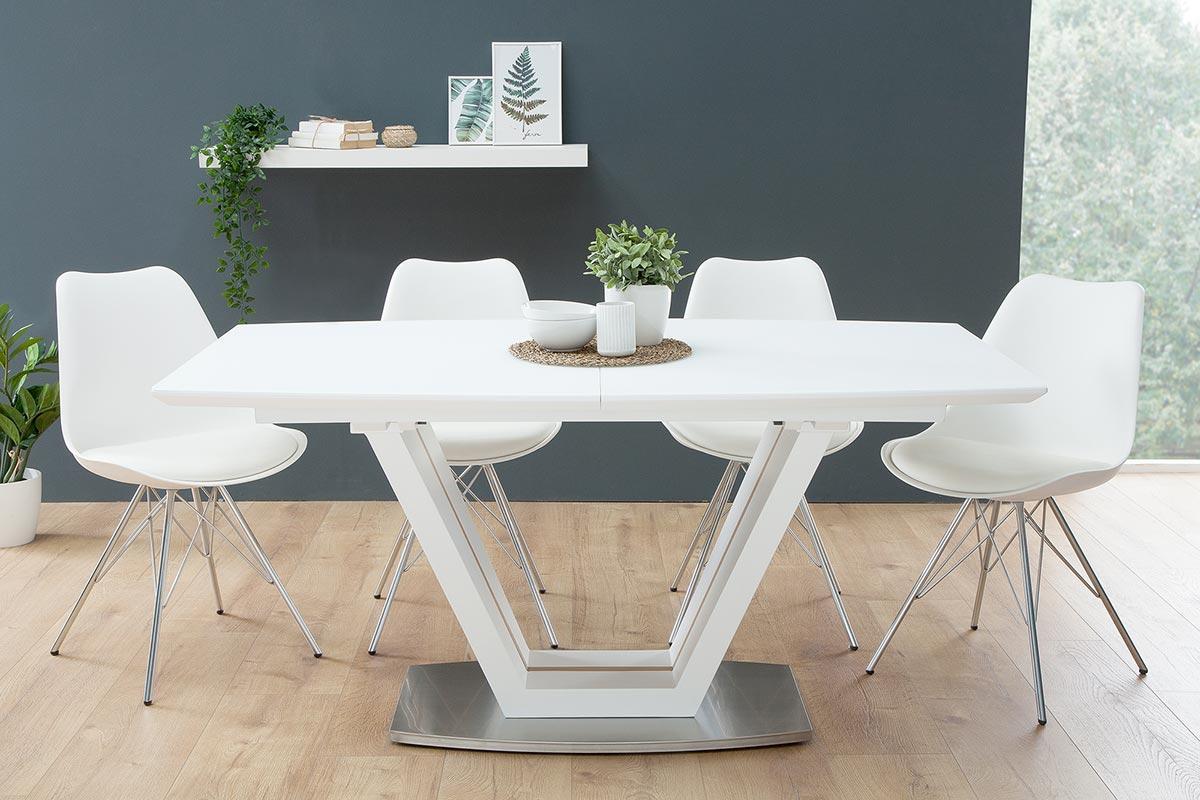Jídelní stůl rozkládací Joanna bílý / dub 160-220 cm