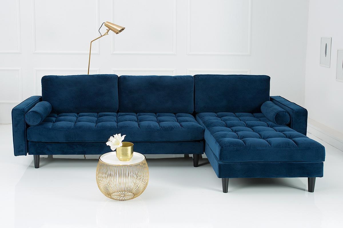 Rohová sedačka Adan tmavě modrá, samet - oboustranná