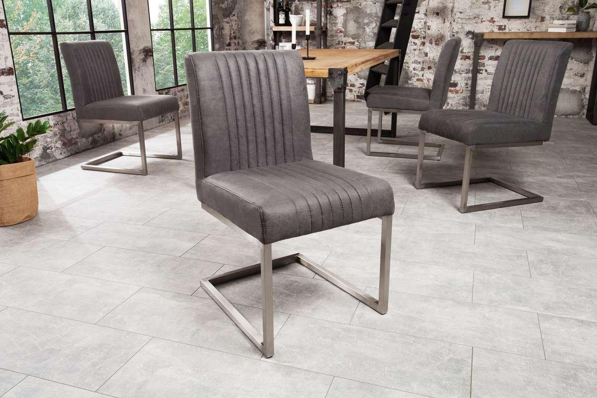 Židle Boss II vintage šedá / stříbrný rám