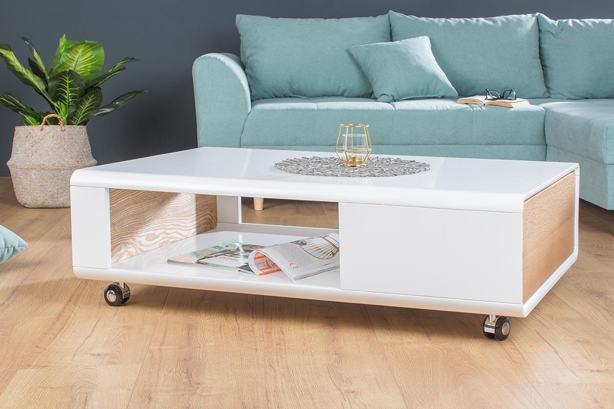 Konferenční stolek Beckett 110 cm bílý / dub