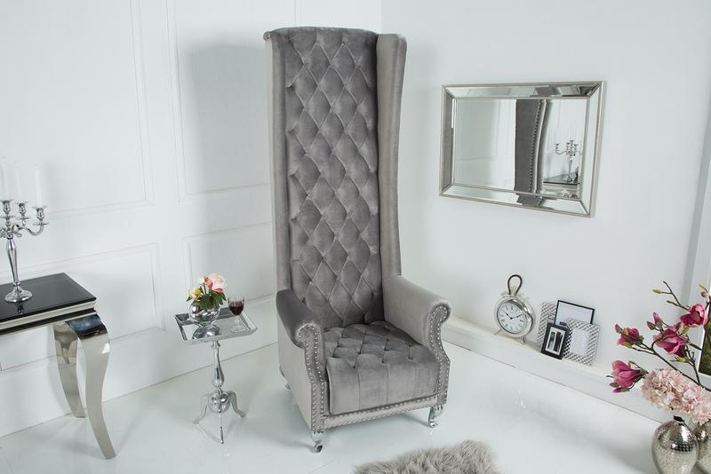 Královské křeslo King stříbrno-šedé