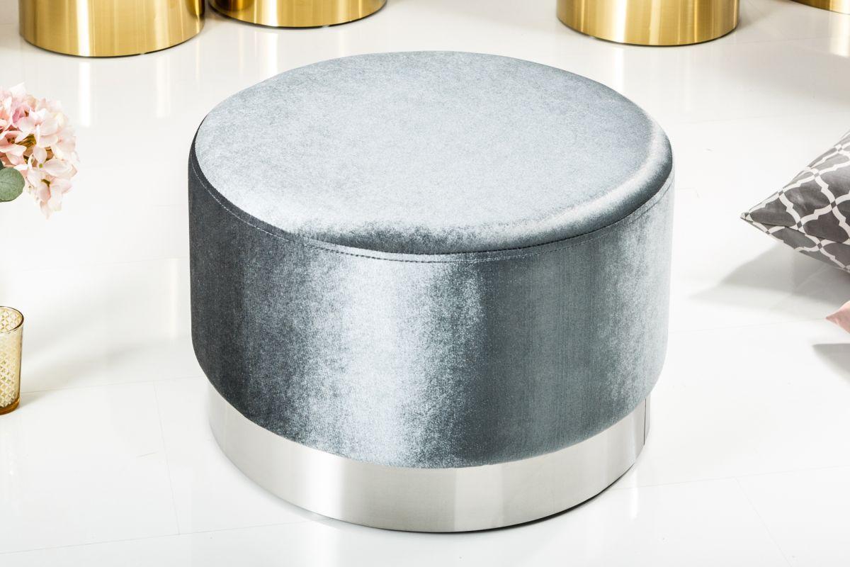Designová taburetka Alejandra 55 cm, stříbrná