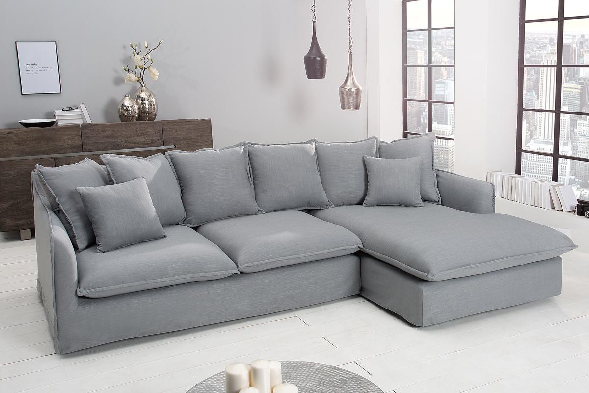 Rohová sedačka Eden, šedé plátno