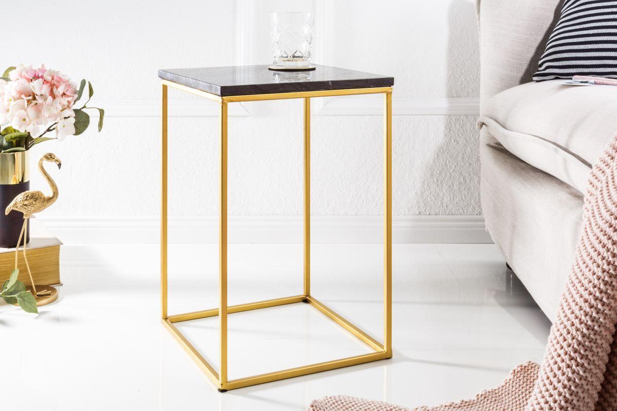 Designový odkládací stolek Tristen černý mramor
