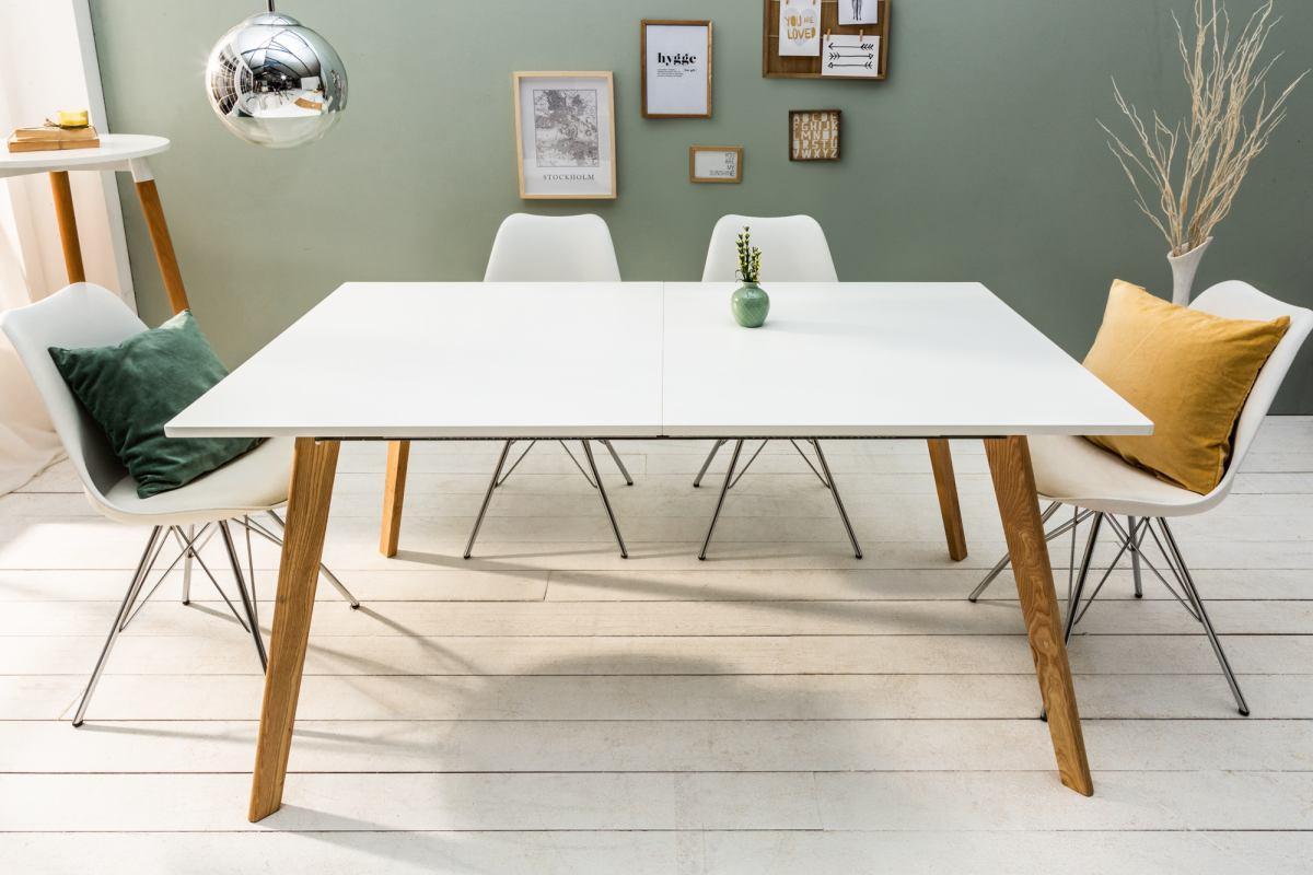 Designový rozkládací stůl Sweden 160-200 cm bílý / dub