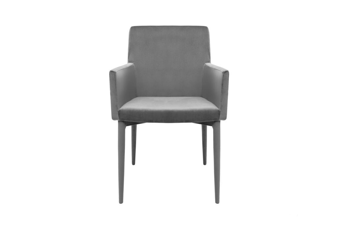 Designová židle s područkami Neapol, šedý samet - Skladem na SK