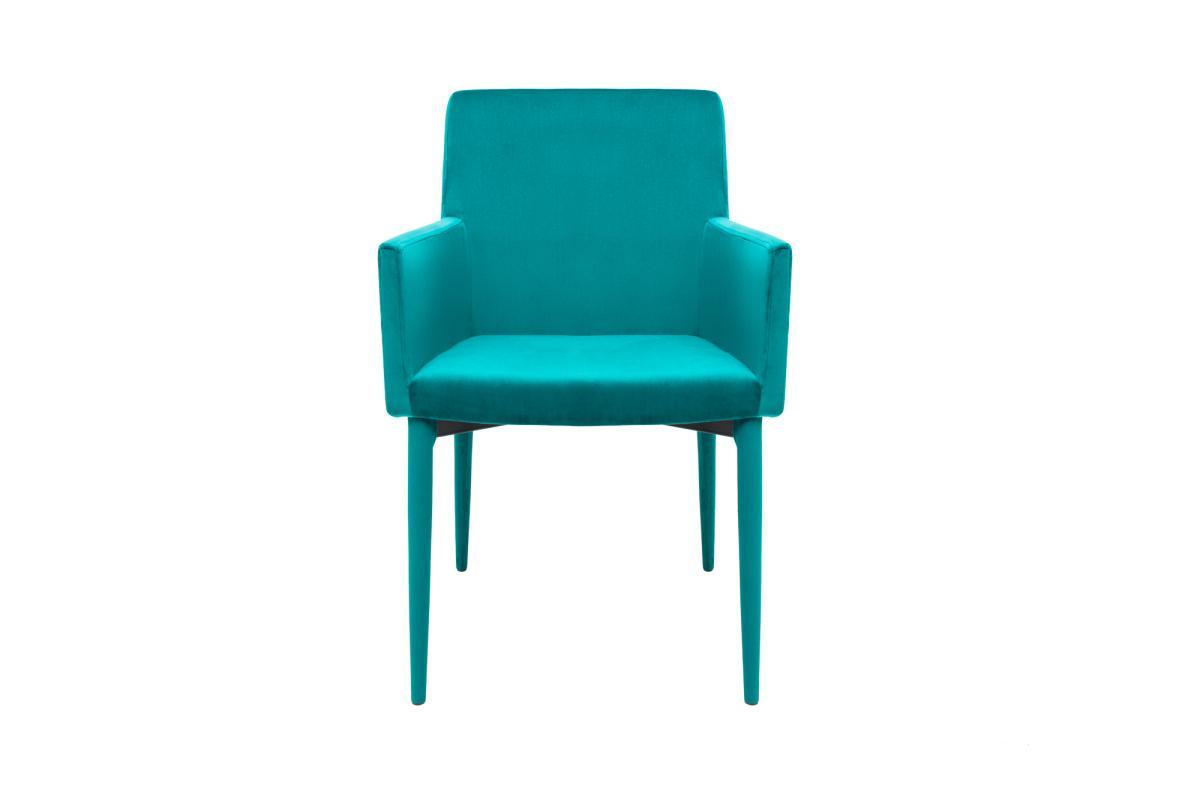Designová židle s područkami Neapol, modrý samet