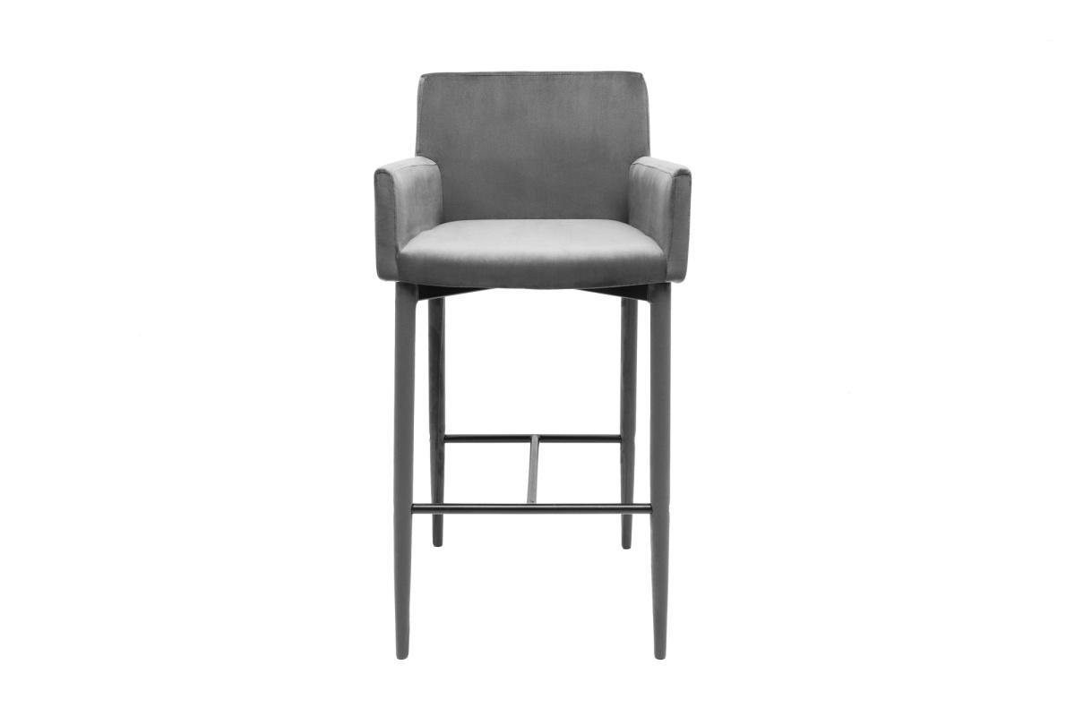 Designová barová židle Neapol, šedý samet - Skladem na SK