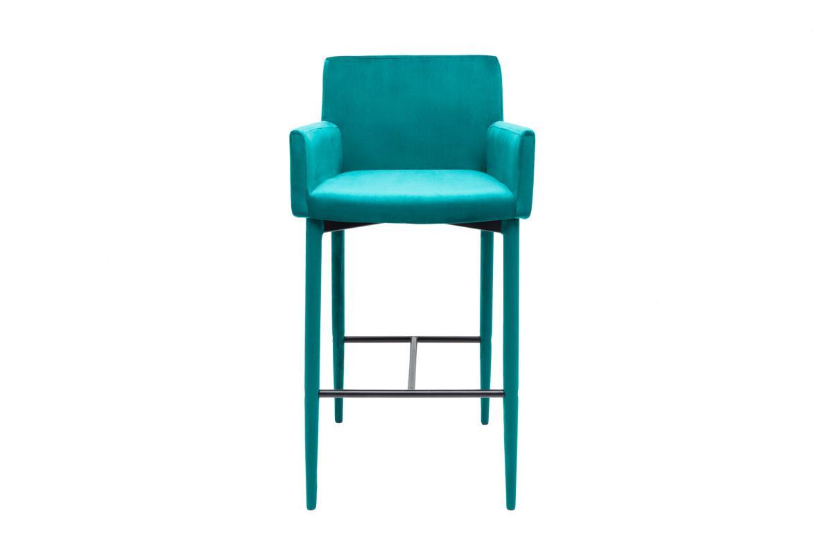Designová barová židle Neapol, modrý samet
