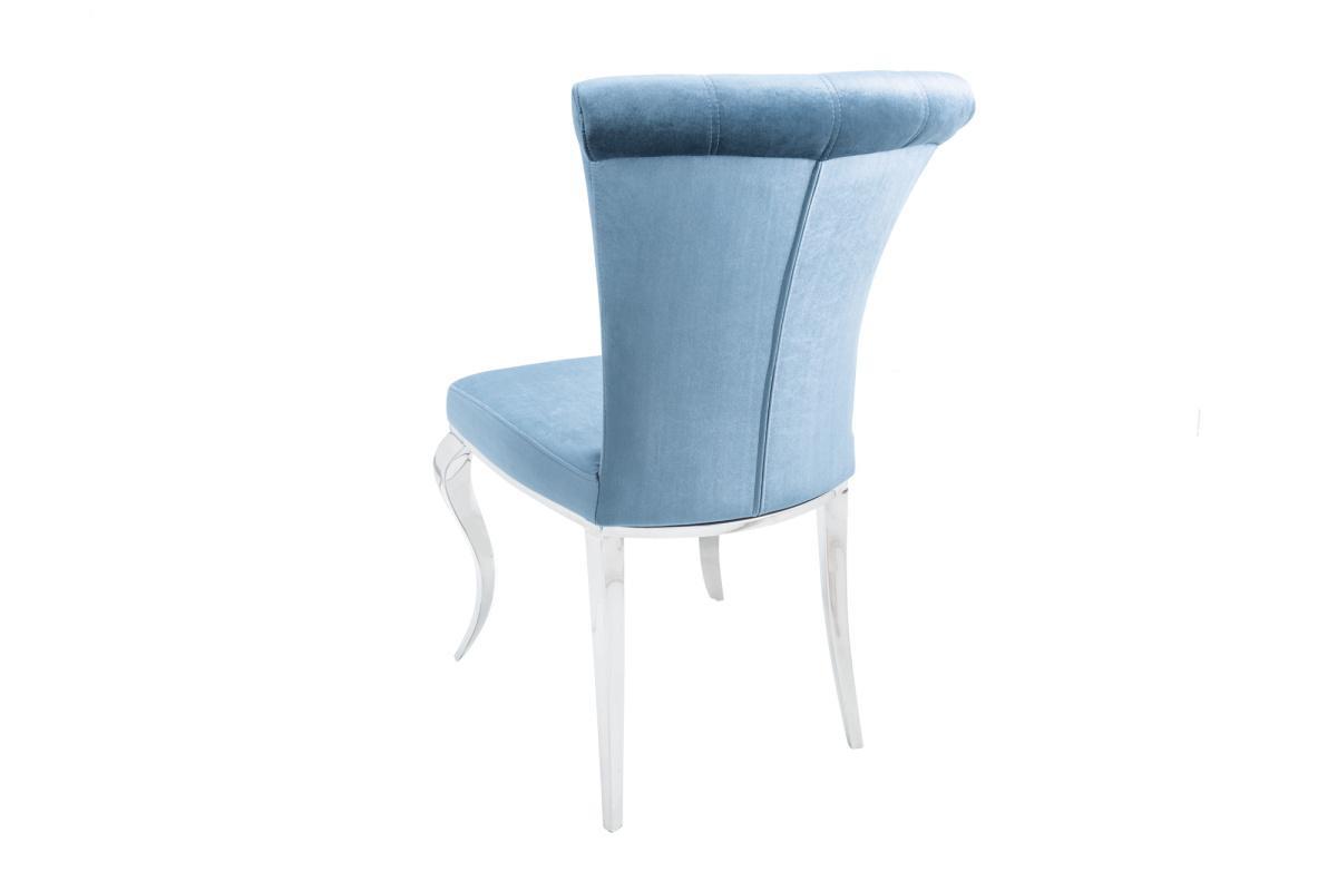 Designová židle Rococo III stříbrno-modrá, samet