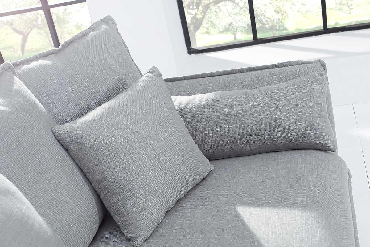Designová trojsedačka Eden, šedé plátno