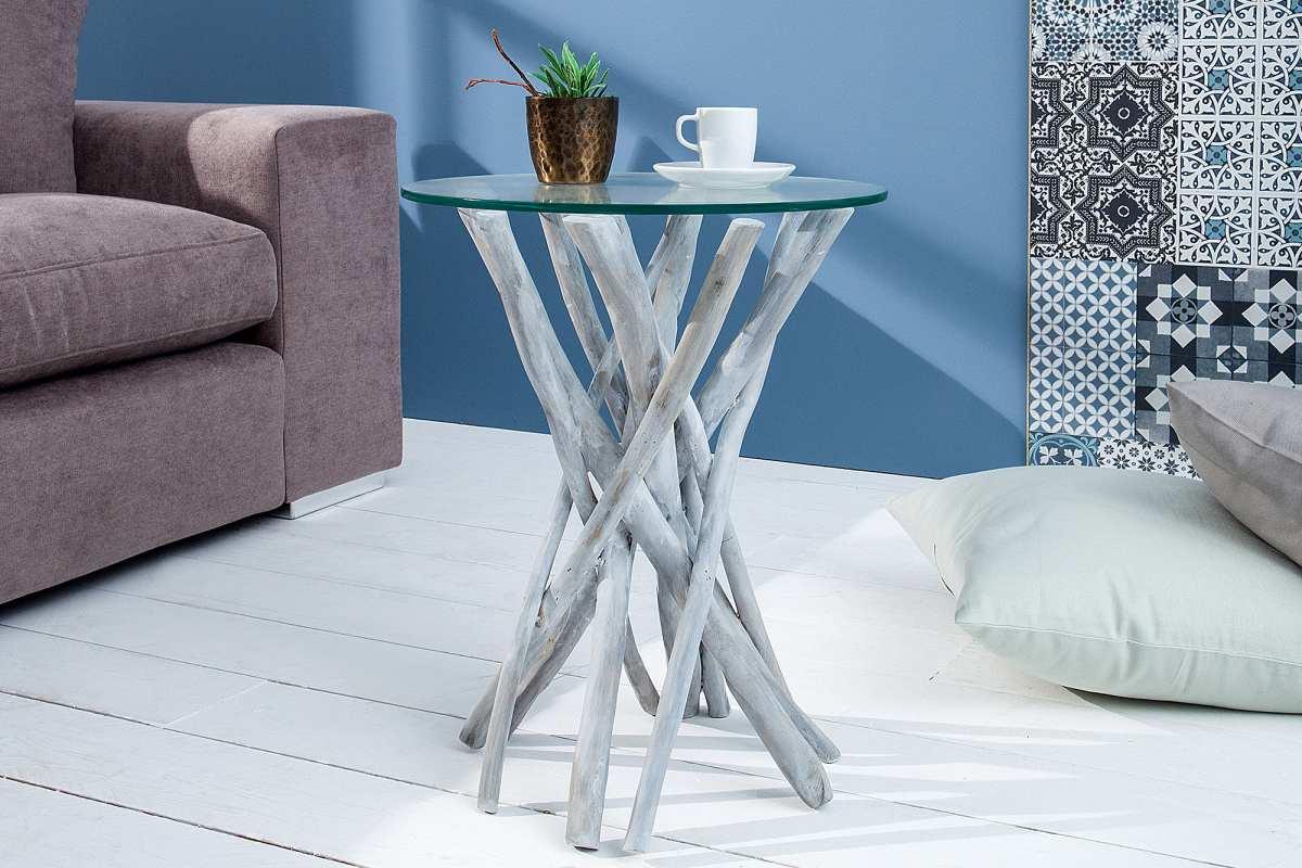 Dizjanový odkládací stolek Twig, 35 cm, šedý