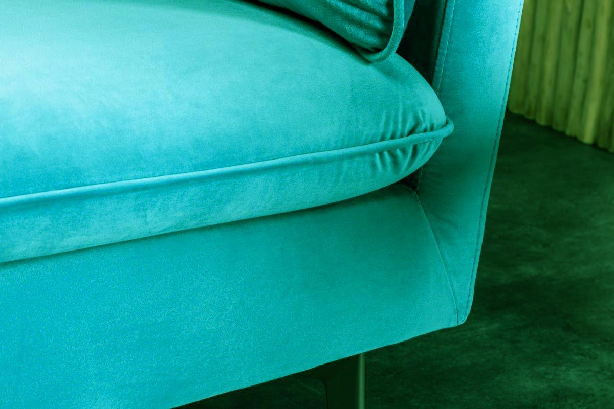 Designová trojsedačka Lena, 210cm, modro-zelený samet