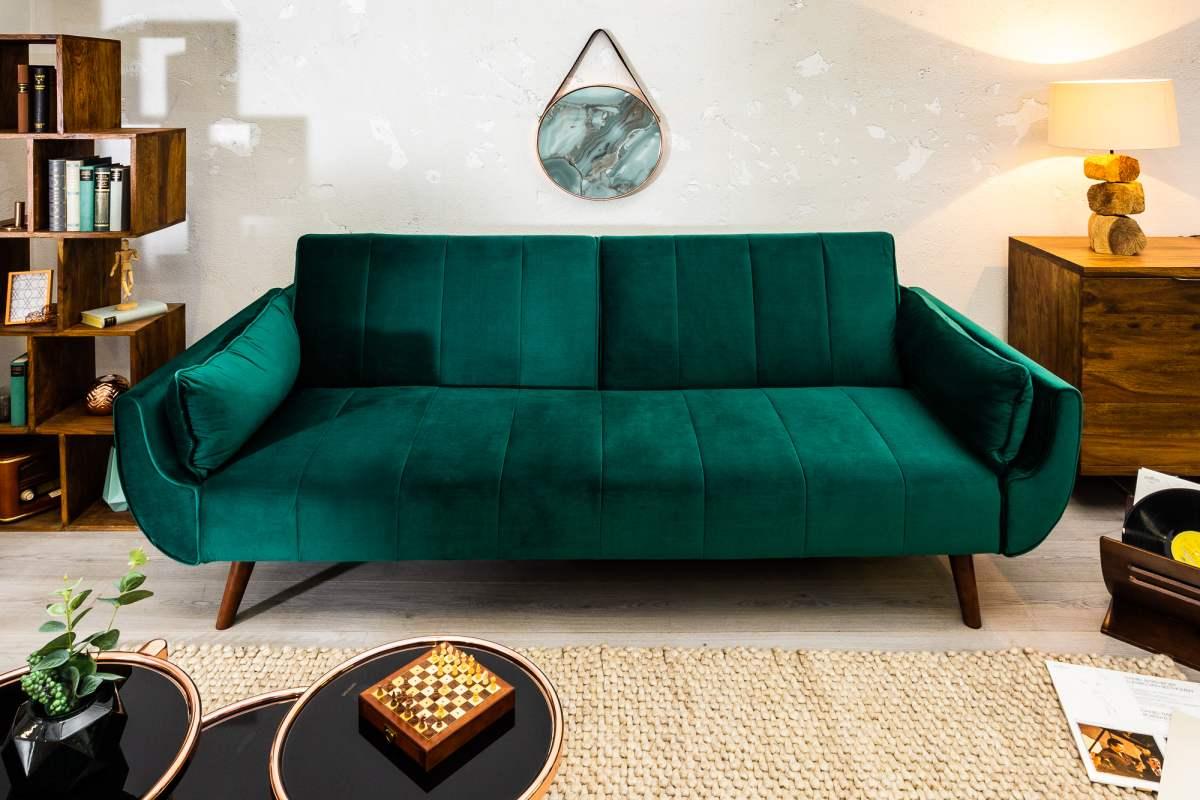 Rozkládací sedačka Amiyah, 215 cm, zelený samet