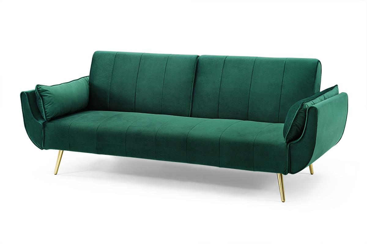 Rozkládací sedačka Amiyah, 215 cm, zelený samet / zlatá