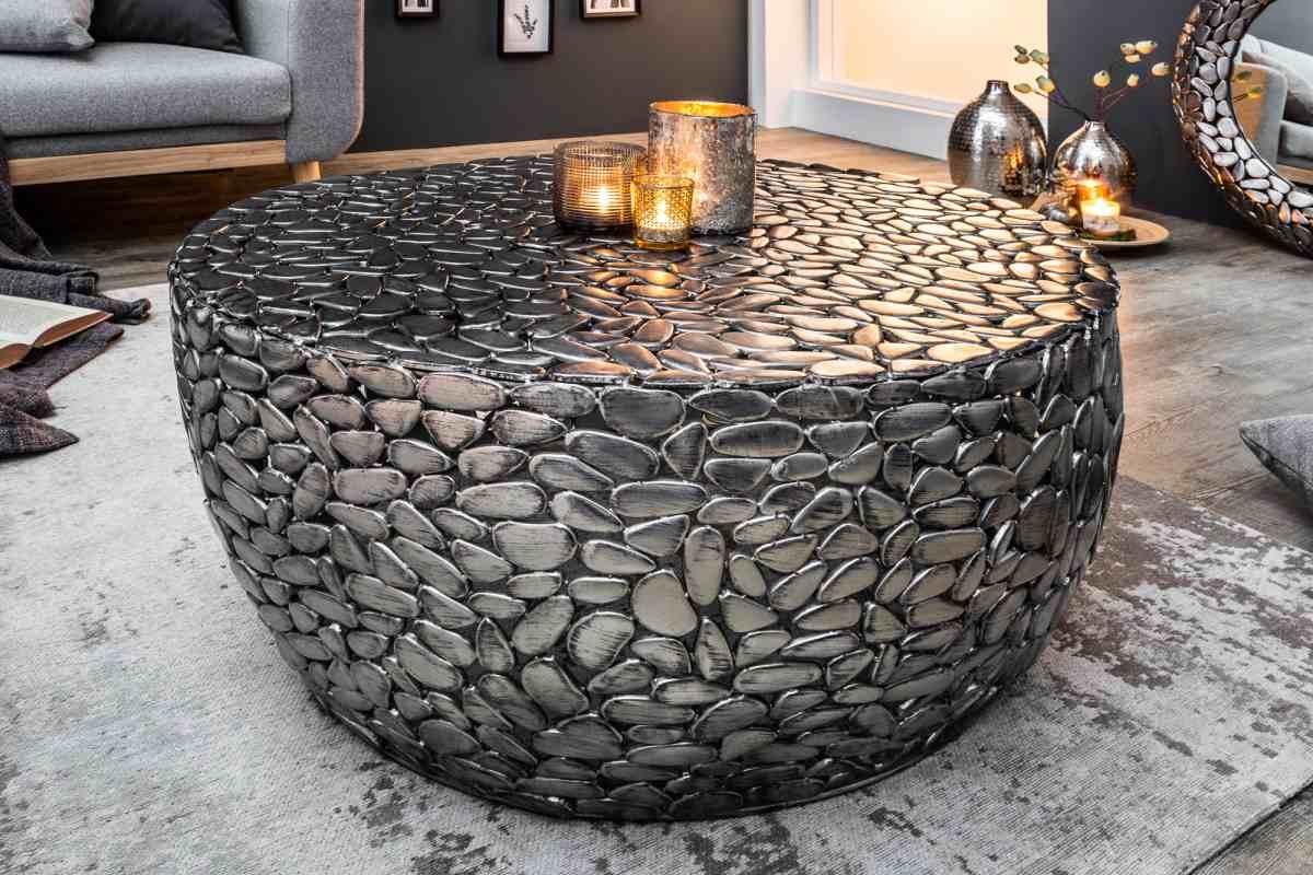 Designový konferenční stolek Mauricio, 85 cm, stříbrný