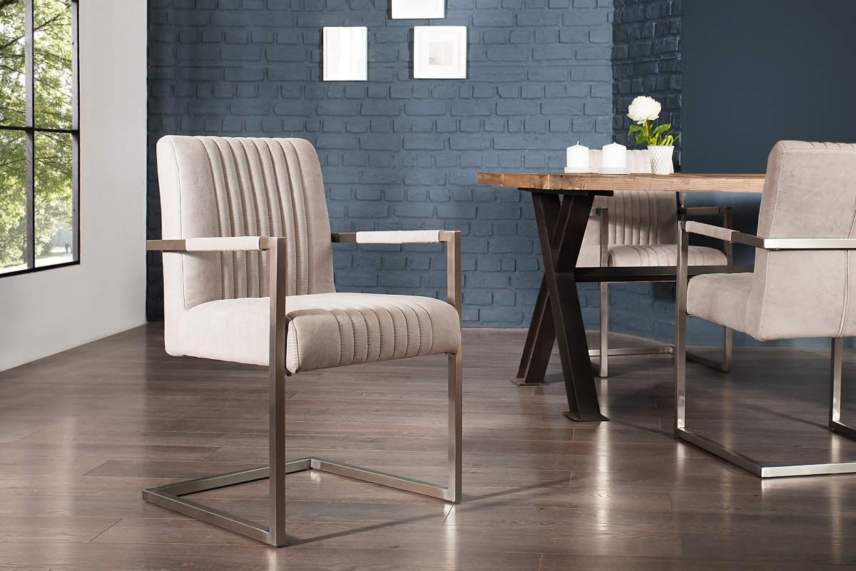 Konzolová židle Boss s područkami, šedá