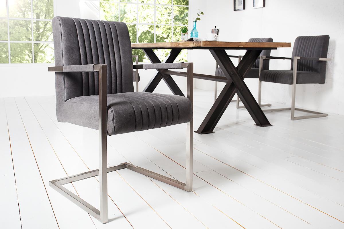 Konzolová židle Boss s područkami, šedá antik