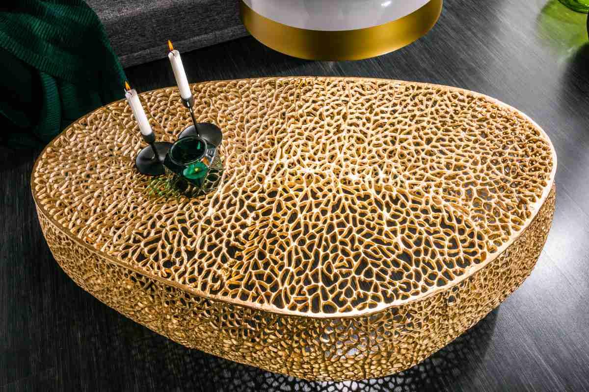 Designový konferenční stolek Lance, 122 cm, zlatý