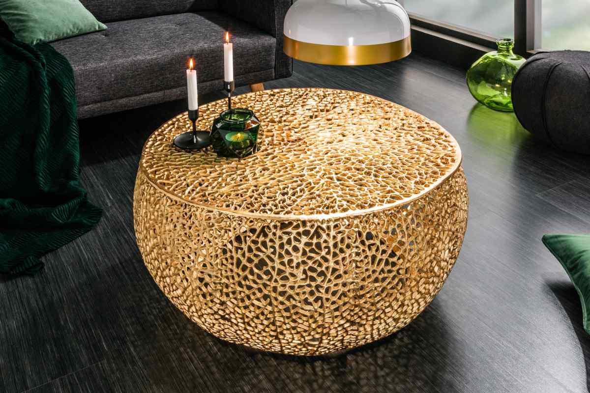 Designový konferenční stolek Lance, 80 cm, zlatý