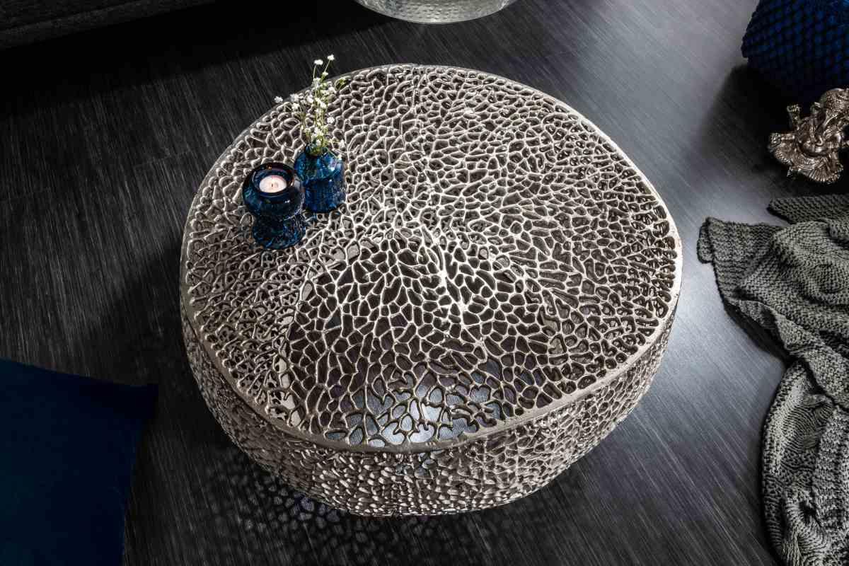 Designový konferenční stolek Lance, 80 cm, stříbrný
