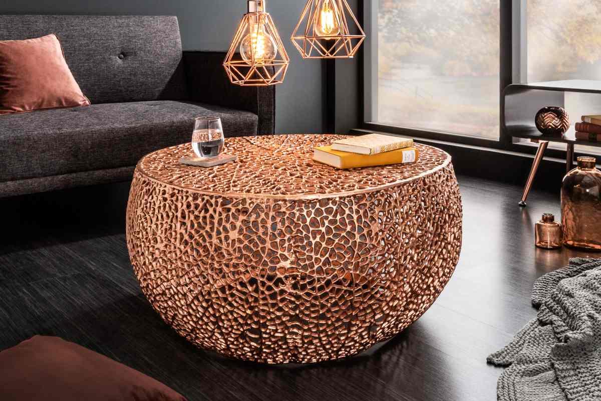 Designový konferenční stolek Lance, 80 cm, měděný