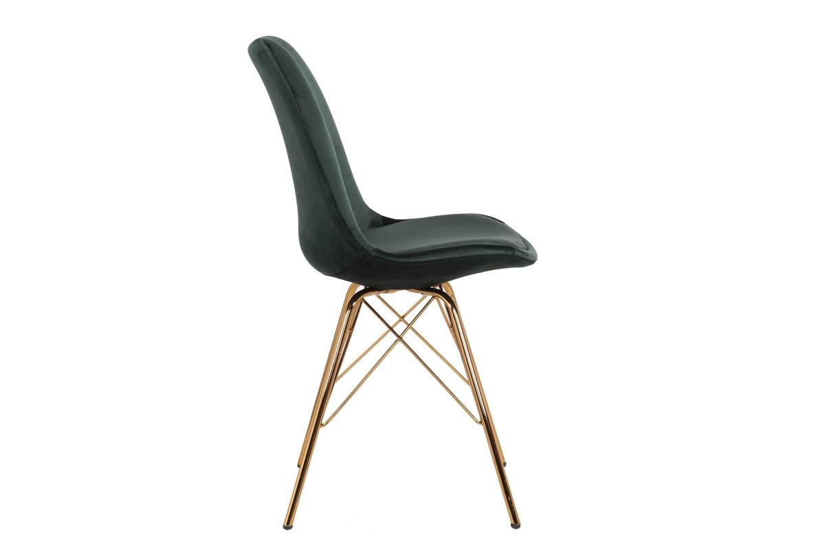 Designová jídelní židle Sweden Retro, tmavozelená / zlatá
