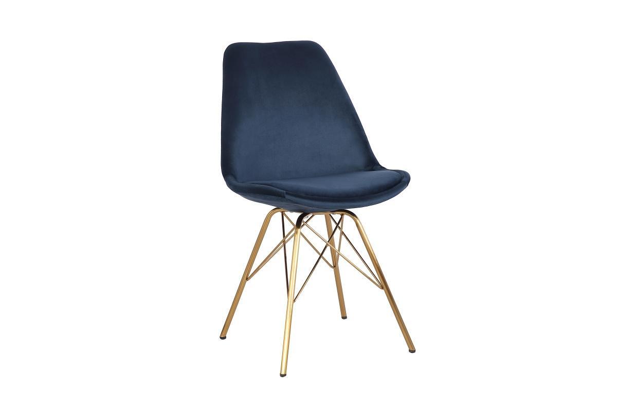 Designová jídelní židle Sweden Retro, tmavomodrá / zlatá