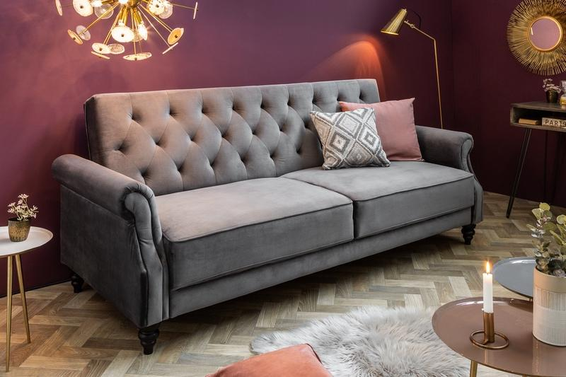 Designová rozkládací sedačka Scarlet Belle II, 220 cm, šedá, samet